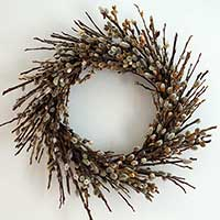 Dried Pussy Willow Wreath 18""